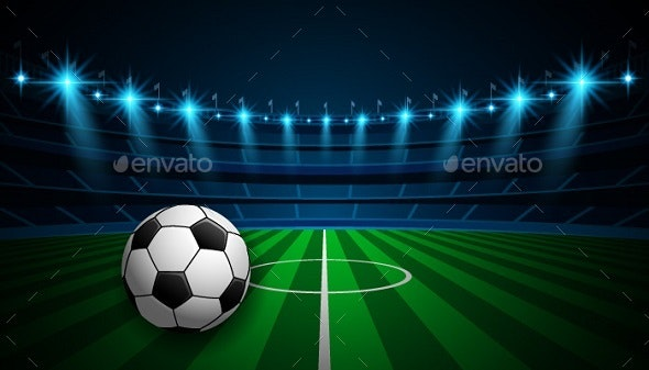 Stadium Football Arena with Soccer Ball - Sports/Activity Conceptual