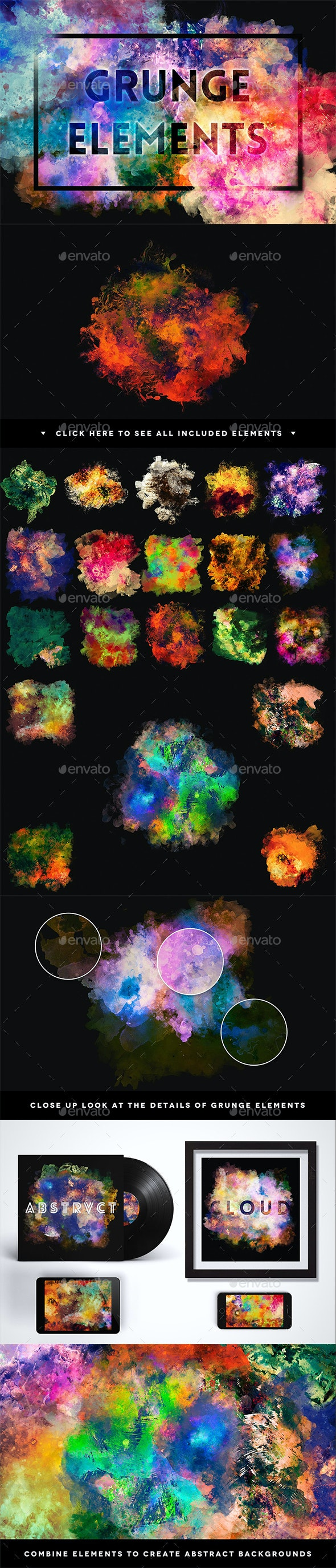 Grunge Elements Background Creation Kit - Backgrounds Graphics