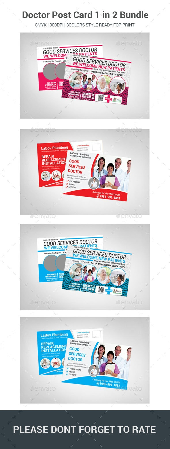 Doctor Post Card 1 in 2 Bundle - Cards & Invites Print Templates