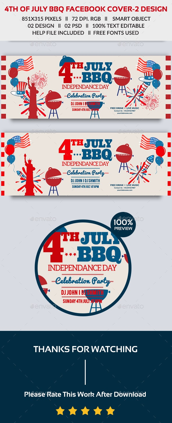 4th of July BBQ Facebook Cover - Facebook Timeline Covers Social Media