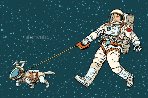 Astronaut Walking Dog in a Space Suit - Animals Characters