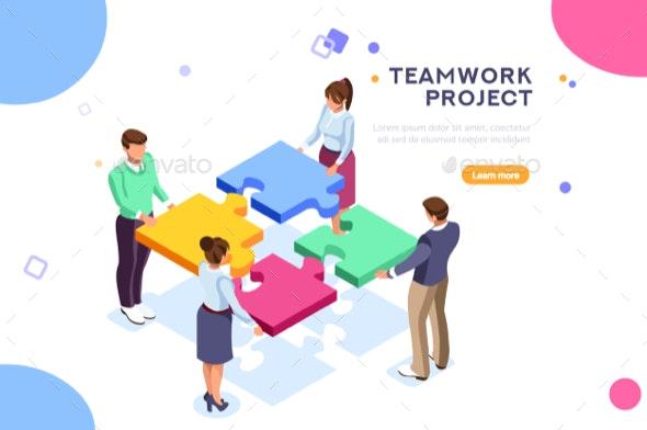 Teamwork Project Illustration - Concepts Business