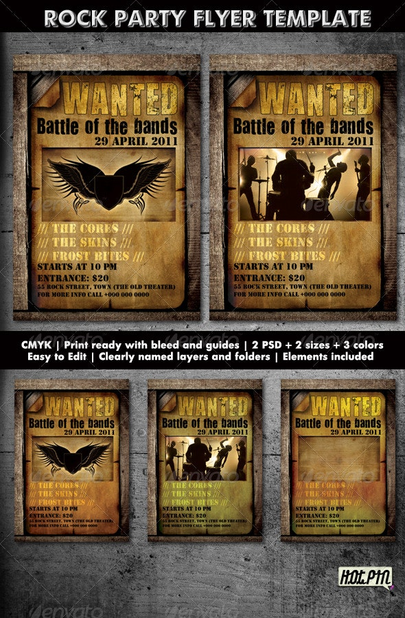 ROCK PARTY/CONCERT FLYER TEMPLATE 2 - Clubs & Parties Events