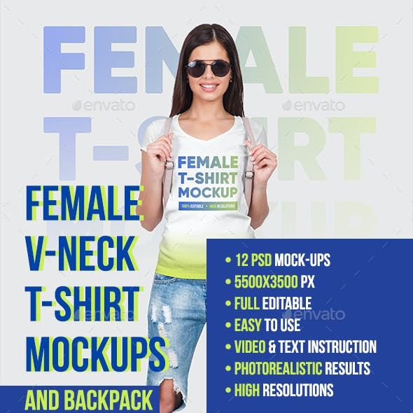 Female V-Neck T-Shirt and Backpack Mockups