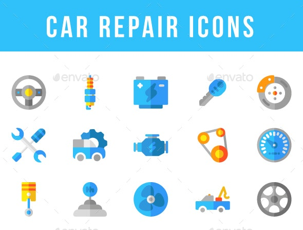 Car Repair Icons - Man-made objects Objects