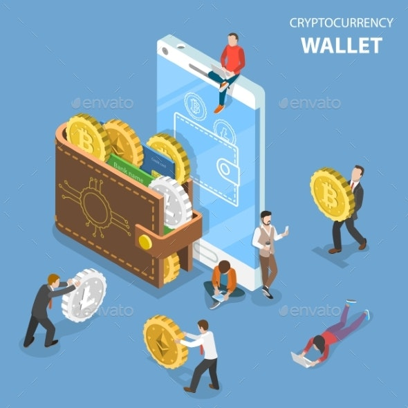 Cryptocurrency Wallet Flat Isometric Vector - Concepts Business