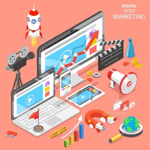 Digital Video Marketing Flat Isometric Vector - Computers Technology