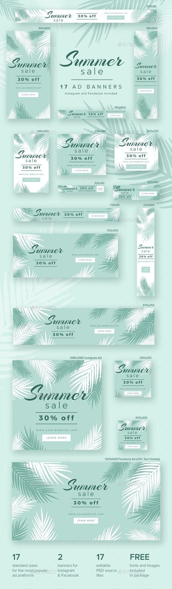 Summer Sale Ad Banners - Banners & Ads Web Elements