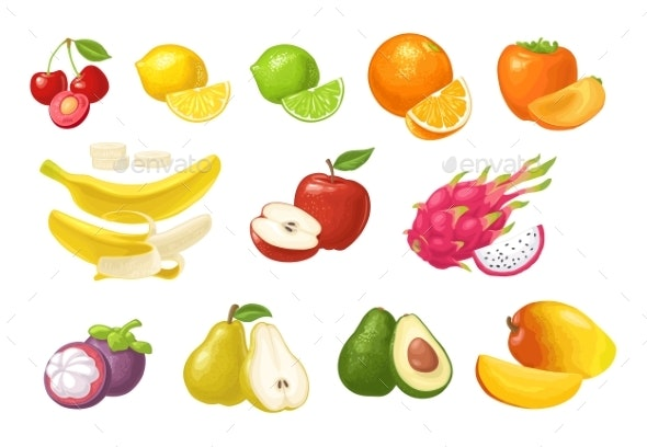 Set of Tropical Fruits - Food Objects