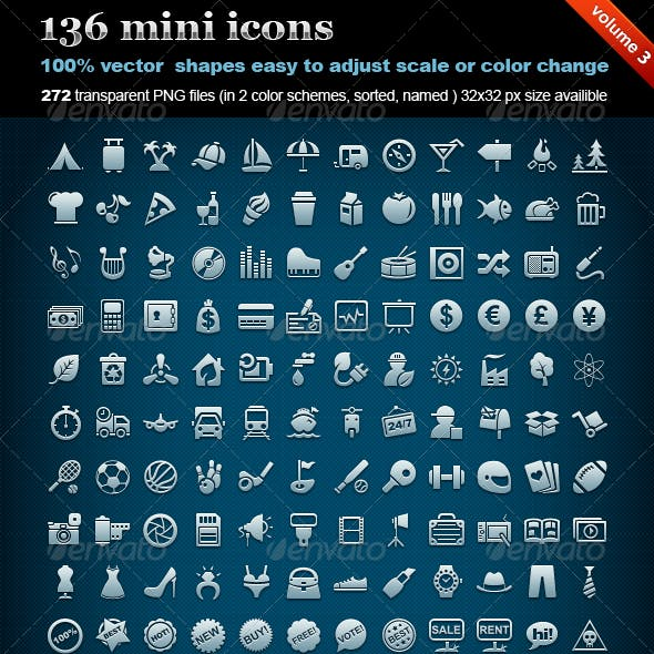 136 mini icons (volume 3)