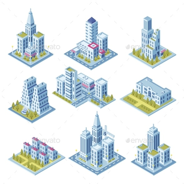 Isometric City Architecture - Buildings Objects