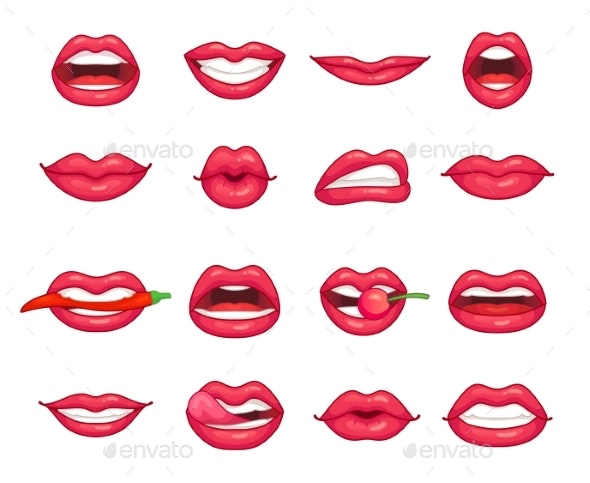 Lips Collection. Beautiful Girl Smiling, Kissing - People Characters