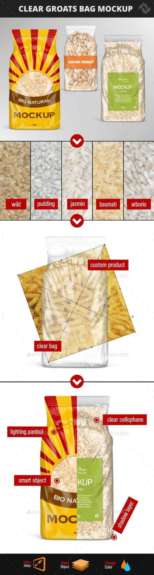 Clear Plastic Rice Bag Mockup - Product Mock-Ups Graphics