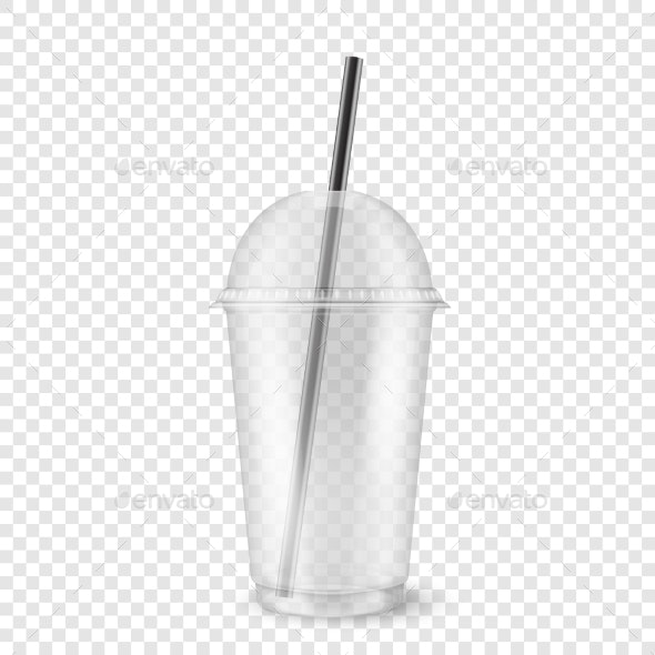Vector Realistic Empty Clear Plastic Disposable - Food Objects