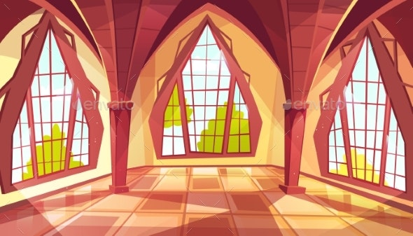 Ballroom or Palace Windows Vector Illustration - Buildings Objects