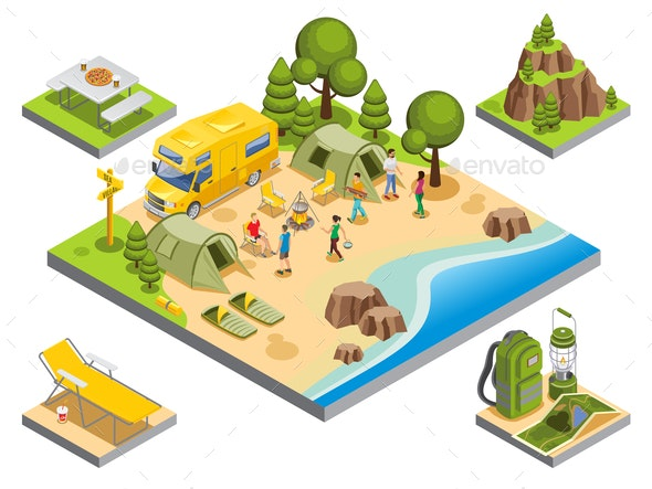 Isometric Outdoor Recreation Concept - Travel Conceptual