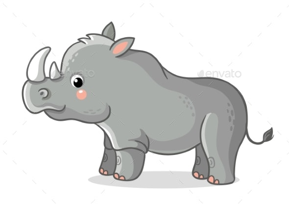 Rhinoceros Stands on a White Background - Animals Characters