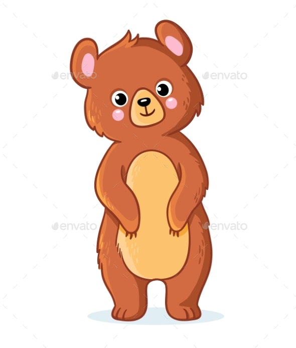 Teddy Bear Stands on a White Background - Animals Characters