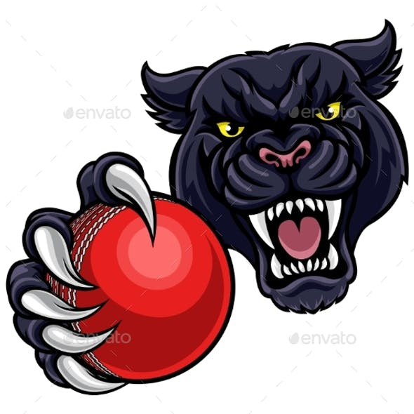 Black Panther Holding Cricket Ball Mascot