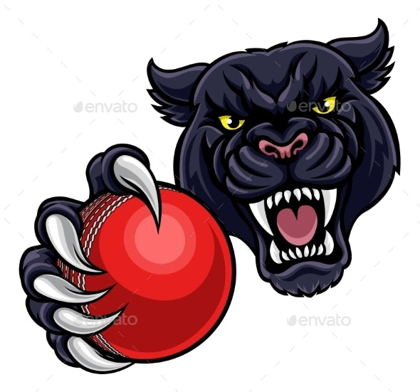 Black Panther Holding Cricket Ball Mascot - Sports/Activity Conceptual