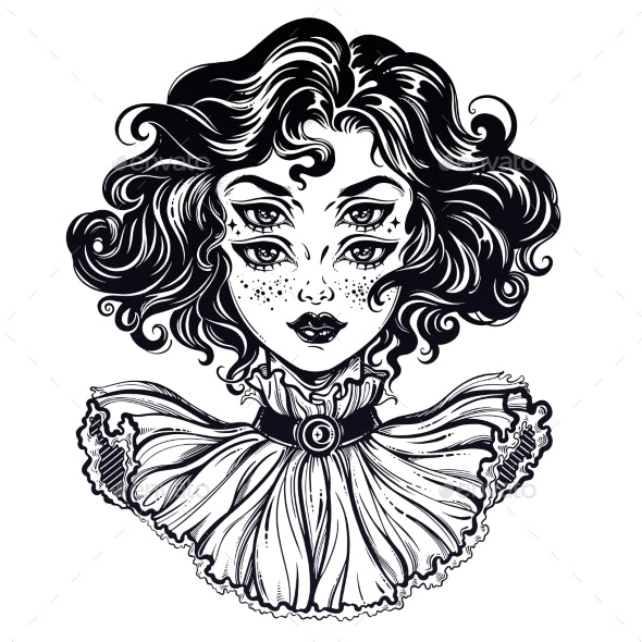 Gothic Witch Girl Head Portrait with Curly Hair - Monsters Characters