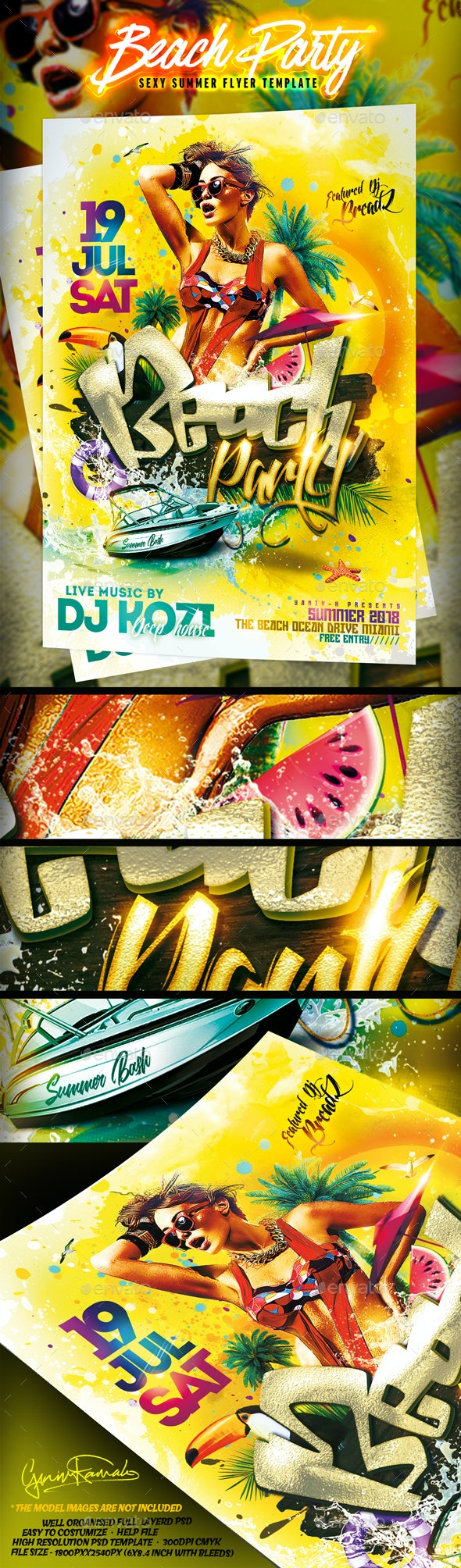 Beach Party v2 Flyer - Events Flyers
