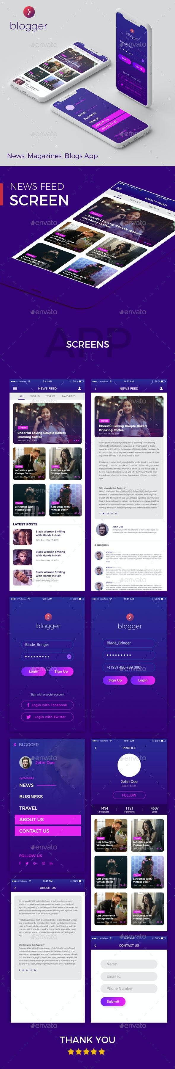 Blogger - News, Magazines, Blogs App - User Interfaces Web Elements