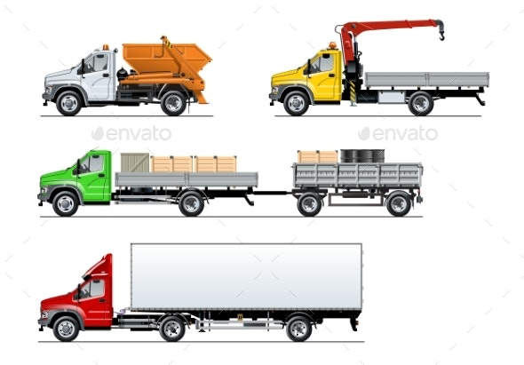 Vector Spec Trucks Set Isolated on White - Man-made Objects Objects