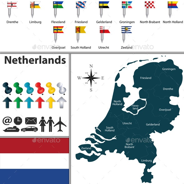 Map of Netherlands - Travel Conceptual