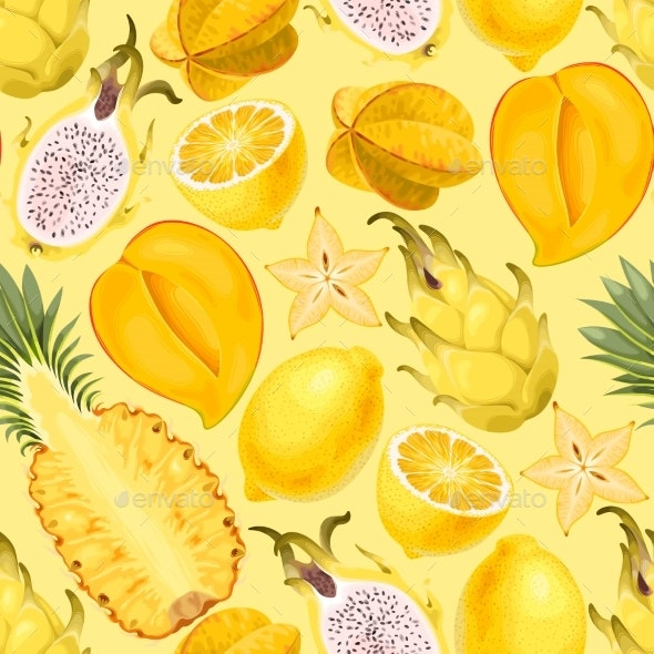 Seamless Exotic Fruit - Food Objects