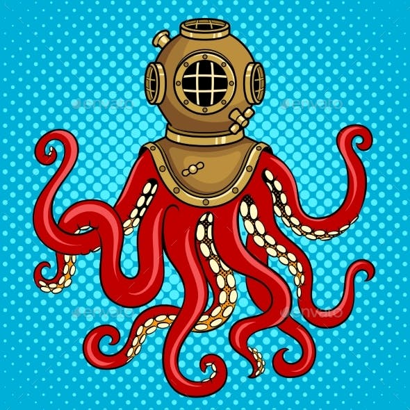Octopus and Old Diver Helmet Pop Art Vector