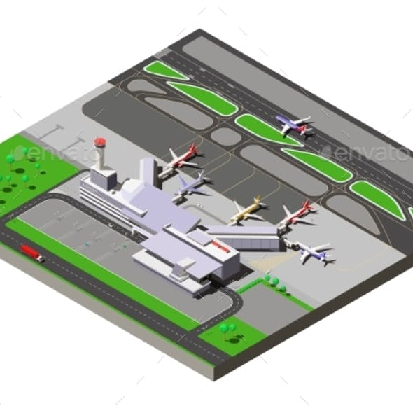 Vector Isometric International Airport Terminal