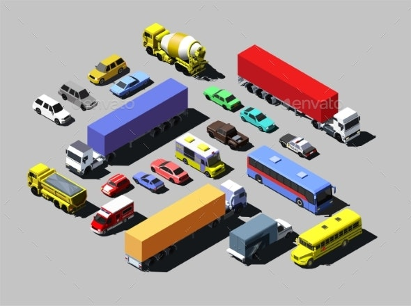 Vector Isometric Road Cars - Man-made Objects Objects