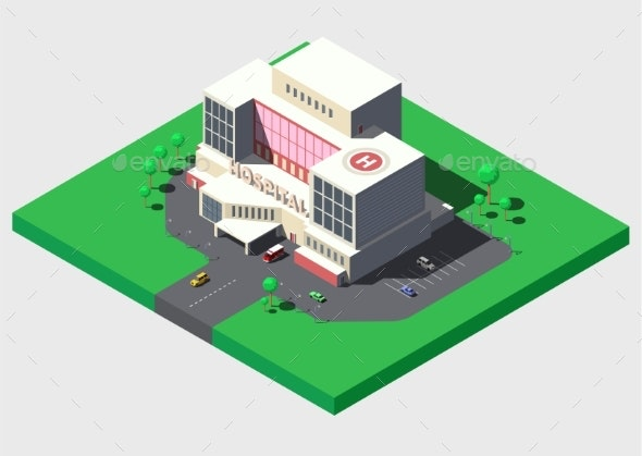 Modern Hospital Building with Ambulance Car - Health/Medicine Conceptual