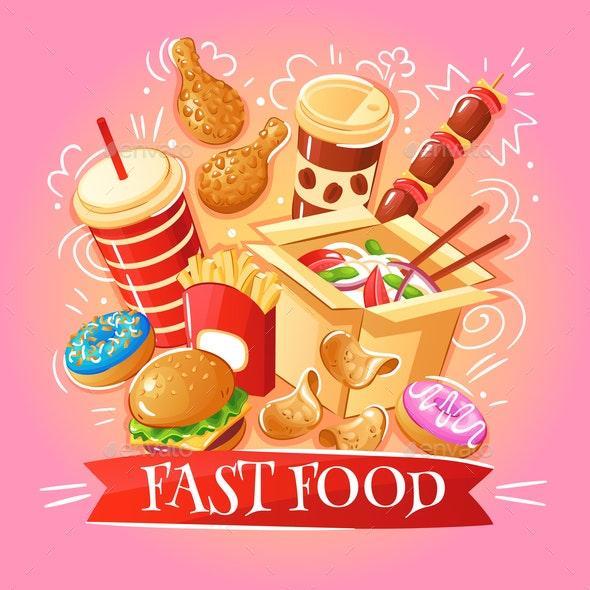 Fast Food Illustration - Food Objects