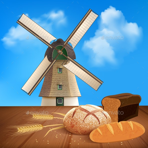 Bread and Wheat Background Illustration - Food Objects