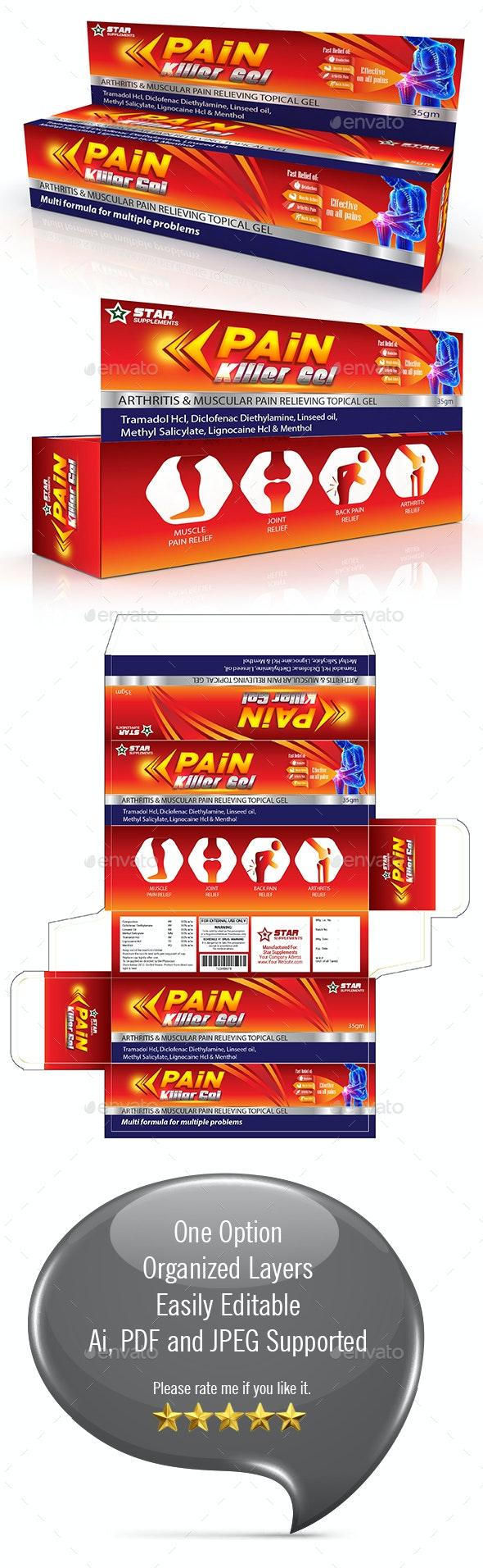 Pain Relief Gel Packaging Template - Packaging Print Templates