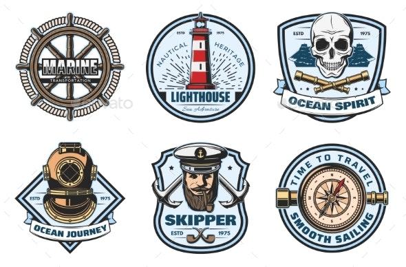 Nautical Retro Badges of Sea - Decorative Symbols Decorative