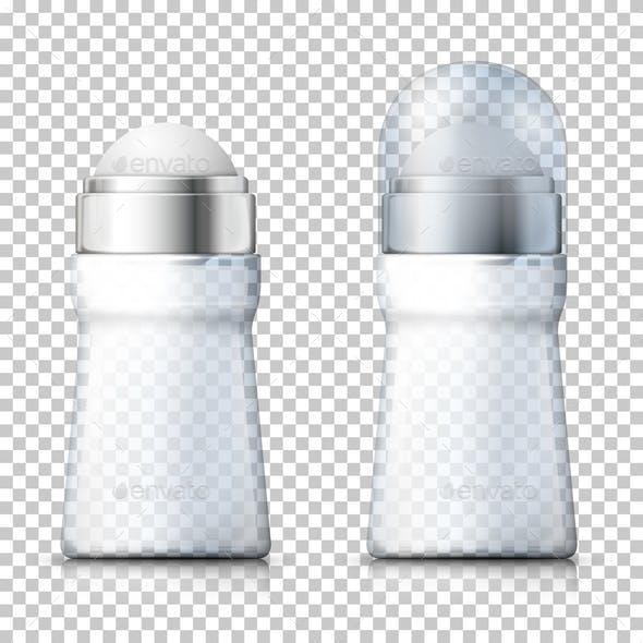 Vector Realistic Transparent Deodorant Bottles