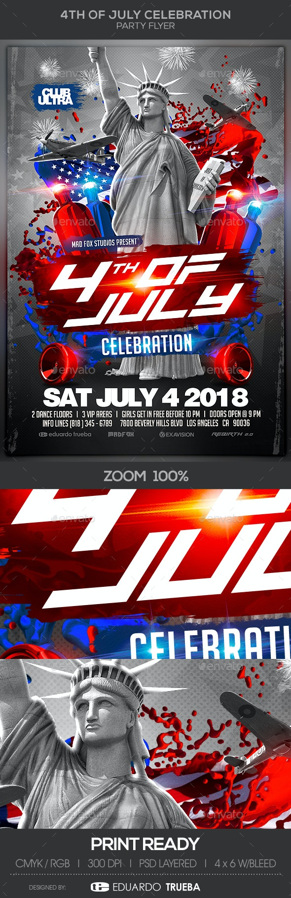 4th of July Celebration Party Flyer - Clubs & Parties Events