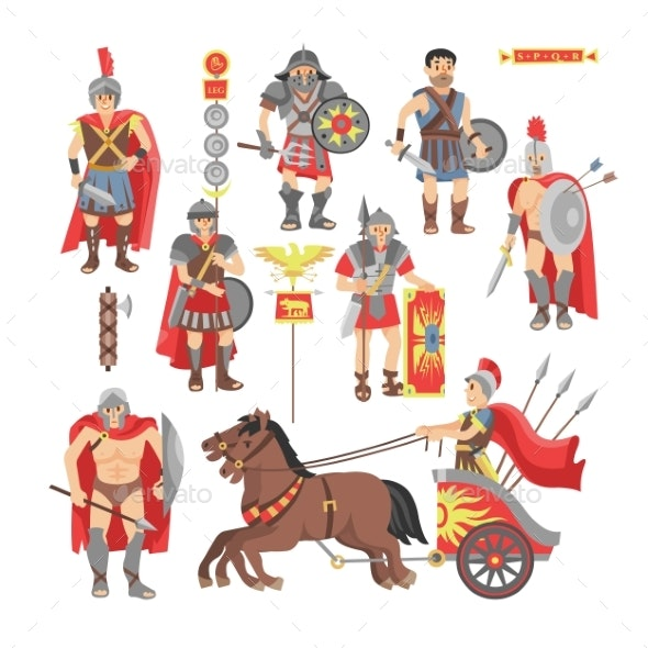 Gladiator Vector Roman Warrior Man Character - People Characters