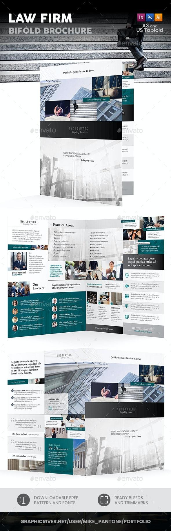 Law Firm Bifold / Halffold Brochure 4 - Informational Brochures