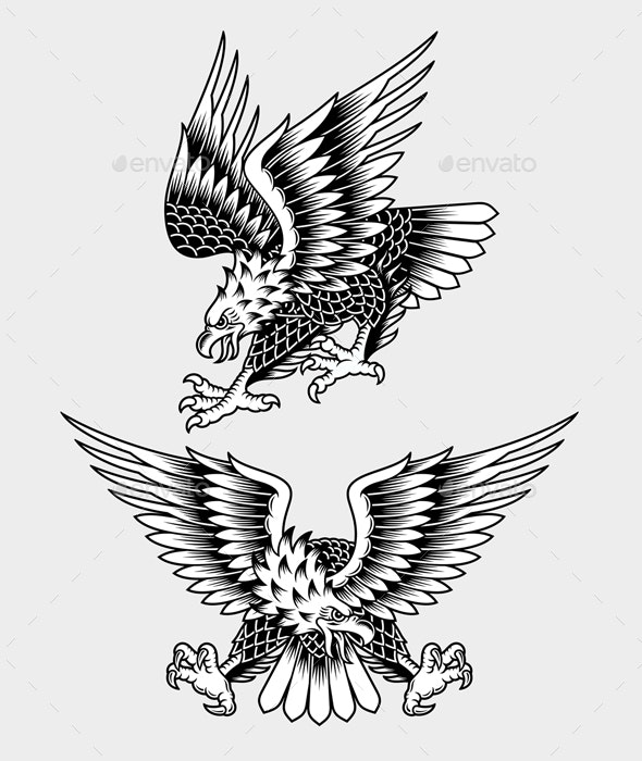 American Screaming Eagle Tattoo Vector Illustration - Animals Characters
