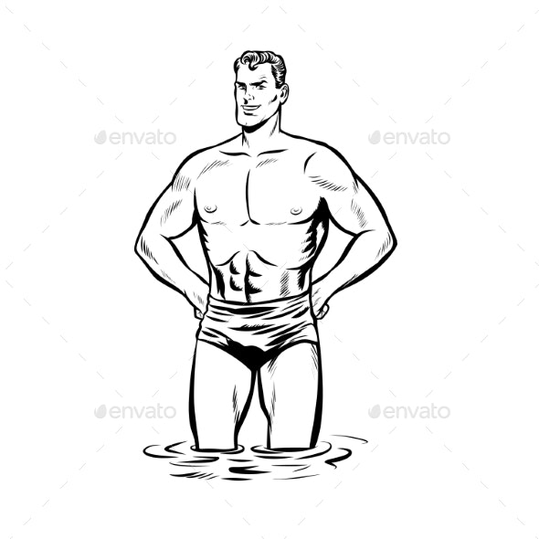 Man Swimmer in Swimming Trunks - People Characters
