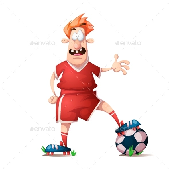Cartoon Football Player - Sports/Activity Conceptual