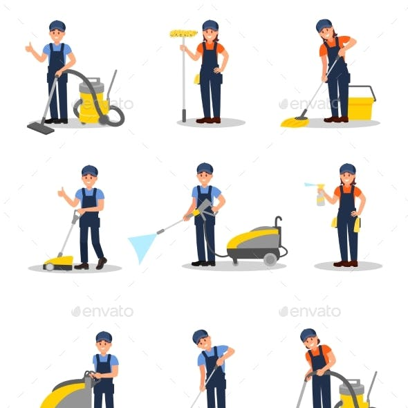 Flat Vector Set of Professional Cleaners