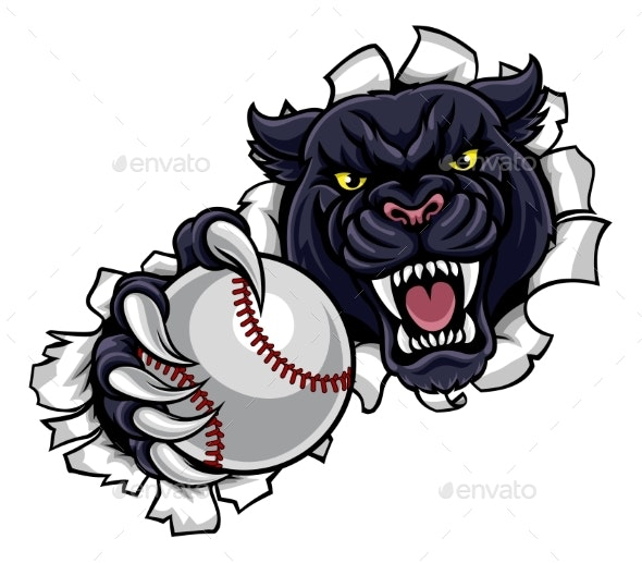 Black Panther Baseball Mascot Breaking Background - Sports/Activity Conceptual