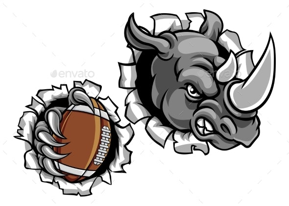 Rhino American Football Breaking Background - Sports/Activity Conceptual