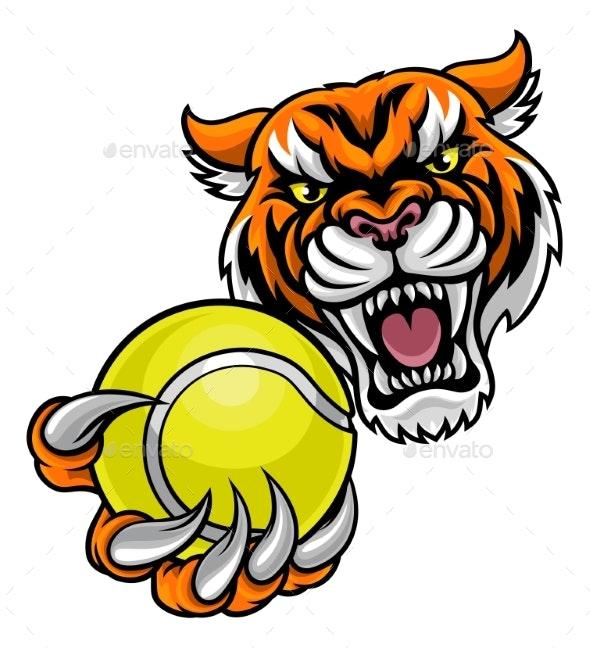 Tiger Holding Tennis Ball Mascot - Sports/Activity Conceptual