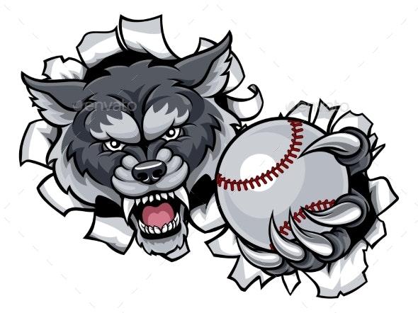 Wolf Baseball Mascot Breaking Background - Sports/Activity Conceptual